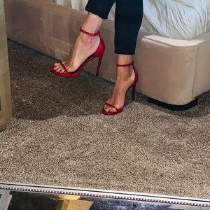 Saint Laurent embossed red leather heel